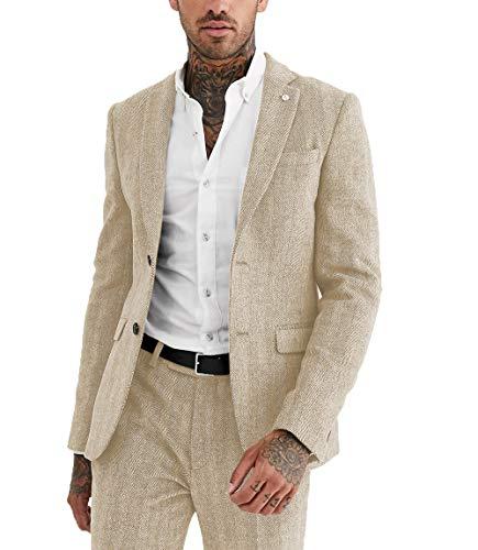 MoranX Herren Anzüge Modern Fit Schmale 2 Teilig Wolle Fischgrätenmuster Tweed Smoking Hochzeit Anzug Business Jacke+Hose(Champagner,Personalisieren)