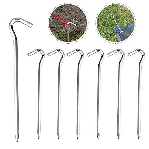 BoloShine 12 Stück Zelt-Heringe, Lange und Robuste Erdnägel Ø 6 mm, Schwer Metall Bodenanker aus Verzinktem Stahl für Camping und Outdoor (18 cm)