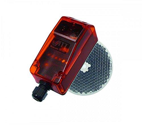 Fotocelula de reflexion con espejo RP 25 compatible con cualquier marca y modelo de motor o central de puerta automatica de garaje o parking y aplicaciones industriales, sensor de obstaculos
