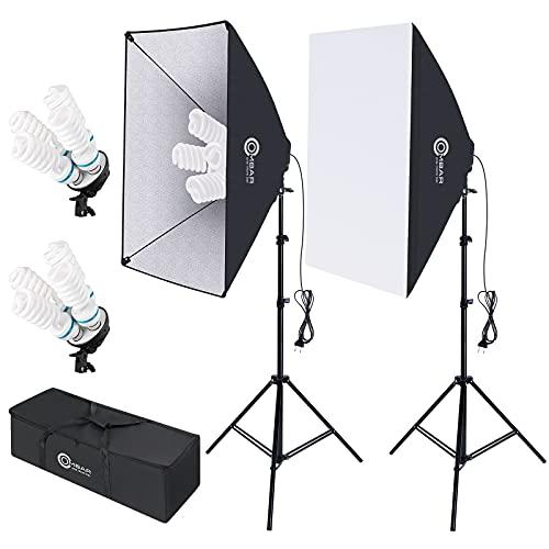 OMBAR Softbox Iluminacion Kit Fotografia Softbox 50×70cm y 1 Bombilla de Luz 135W 5500K E27 Bolsa de Transporte, para Videos de Retrato de Estudio, Luz para Estudio Fotográfico Profesional