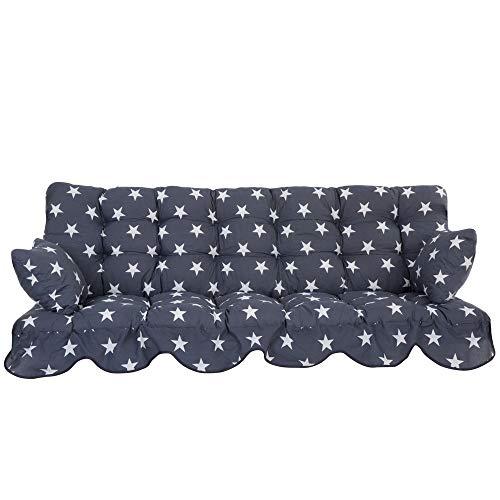 PATIO Auflagen Set Minorca für Hollywoodschaukel Polsterauflage Sitzkissen Rückenkissen Seitenkissen Gesteppt H022-06PB 184 cm