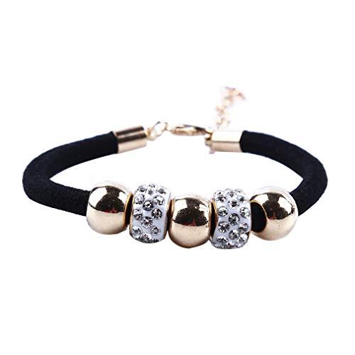 #N/A Xufeisac - Pulsera de cuerda trenzada con diamantes de imitación de metal ajustable con cierre de cadena