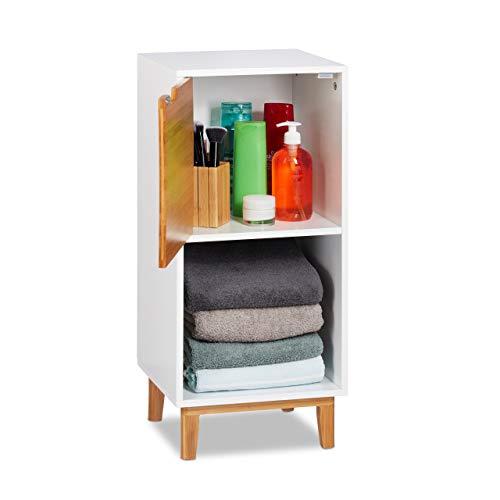 Relaxdays Standregal weiß, Beistellschrank aus MDF und Bambus, Wohnzimmerregal, skandinavisch, HBT 71x32x30 cm, White, 2 Ablagen