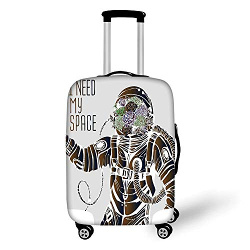 Travel Luggage Cover Suitcase Protector,Outer Space Decor,Funny Love Quote with a Floral Head Cosmonaut Pilot Man Humor Illustration,Multi,for Travel L