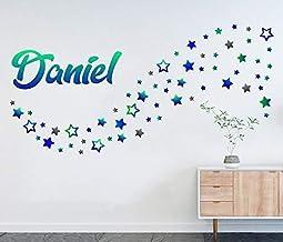 Muurtattoo set naam Daniel met 80 sterren jongen boy kind muursticker kleurrijke muurschildering ster deco kinderkamer 11M...