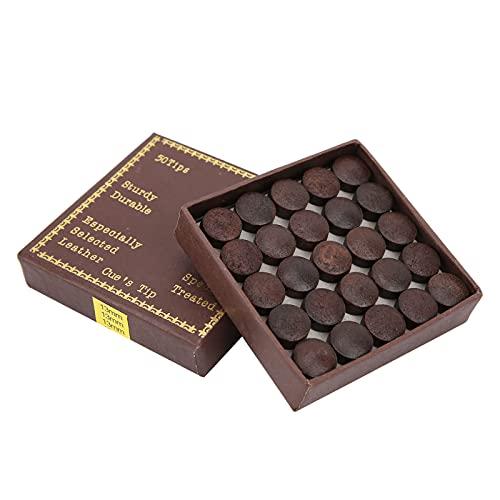minifinker 50 Uds Punta de Taco de Billar marrón-Rojo, Material de Piel de Vaca con Punta de Taco de Billar para Piscina de Piel de Vaca para Protección contra el Deslizamiento del Taco de Billar