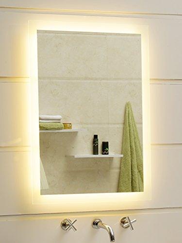 Dr. Fleischmann Badspiegel LED Spiegel GS084N mit Beleuchtung durch satinierte Lichtflächen Badezimmerspiegel (40 x 60 cm, warmweiß)