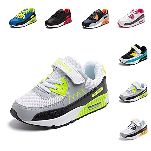 ZapatillasNiño Niña Deportivas Infantil Zapato Deportivos Unisex SneakersCasual Comodos Ligeras TranspirablesZapatos de Correr Verde 31 EU