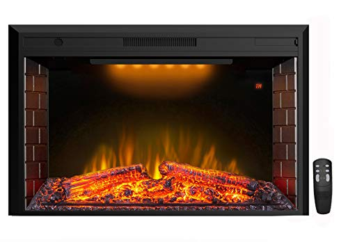 Masarflame 43'' Electric Fireplace Insert, Retro Recessed Fireplace Heater with Fire Cracking Sound, Remote Control & Timer, 750/1500W, Black Décor Dining electric Features Fireplaces Home Kitchen