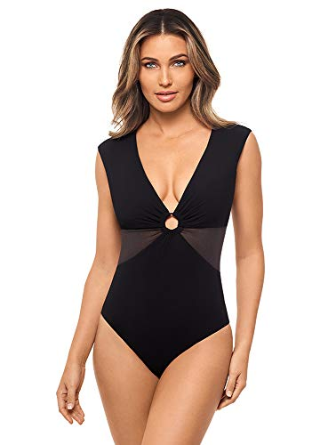 Amoressa Women's Swimwear Mombasa Blixen Plunge Cap Sleeve Soft Cup Plunging Neckline One Piece Swimsuit, Black, 14