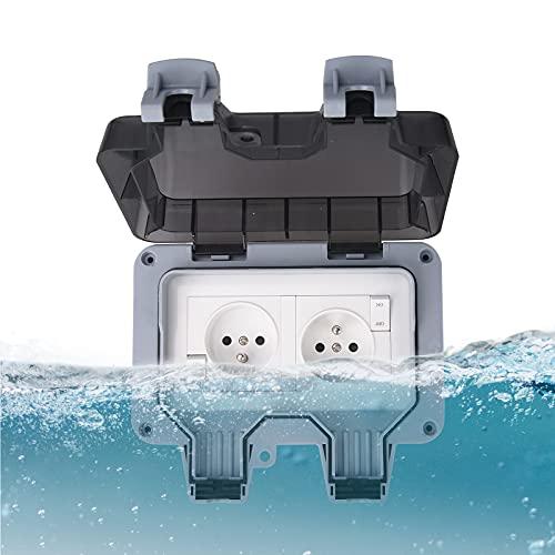 Plasaig - Enchufe impermeable IP66, enchufe estanco exterior de pared, carcasa de enchufe de pared impermeable al polvo para interior y exterior (con interruptor, A)