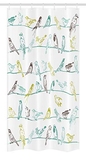 Ambesonne Birds Stall Shower Curtain, Various Type of Birds Sitting and Chirping on Wires Musical Creatures Print, Fabric Bathroom Decor Set with Hooks, 36