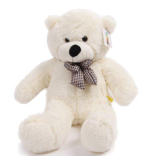 YunNasi 120 cm Riesige Teddybär Kuscheltier Puppe mit Eleganter Schleife Weiß