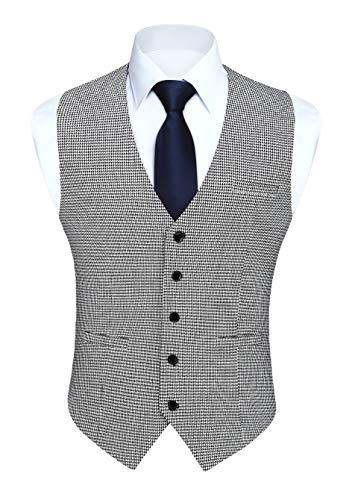 HISDERN Gilets Homme Classique Carreaux Gilets Coton Formel Mariage Pied de poule blanc Noir Sans Manche Gilet Costume pour Hommes XXL