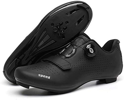 KUXUAN Zapatillas de Ciclismo Hombre Dial Bicicleta de Carretera SPD/SPD-SL Ciclismo Interior Compatible con Ejercicio Doble Trinquete MTB Cleat Ciclismo,Black-5UK=(240mm)=38EU