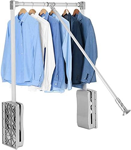 JEANMISS Hängende Garderobenschiene, Heben Sie die herunterziehbare Garderobenschiene mit Einstellbarer Breite an,Silber,600~830MM