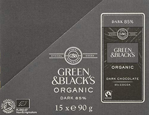 Green & Black's Organic 85% Dark Chocolate Bar, 90 g, Pack of 15