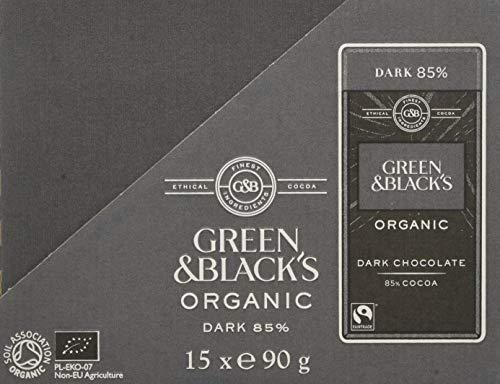 Green & Black's Organic 85% Dark Chocolate Bar, 90 g, Pack of 15