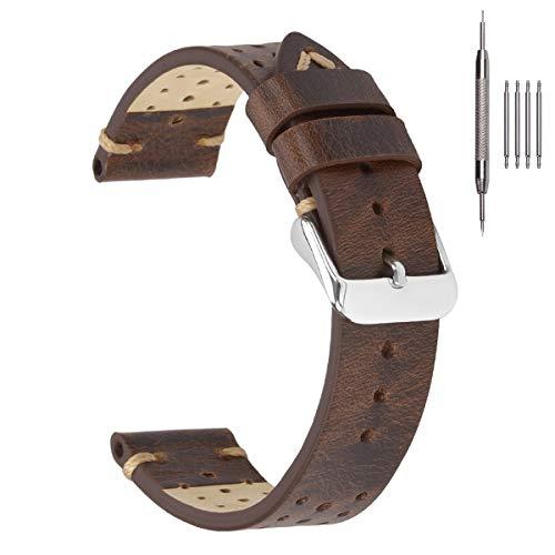 Correas de Reloj Rally Racing de 18 mm, EACHE Correas de Reloj de Cuero Vintage Perforadas Retro Marrón