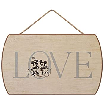 Open Road Brands Disney Mickey Mouse & Minnie Mouse Love Hanging Wood Wall Decor