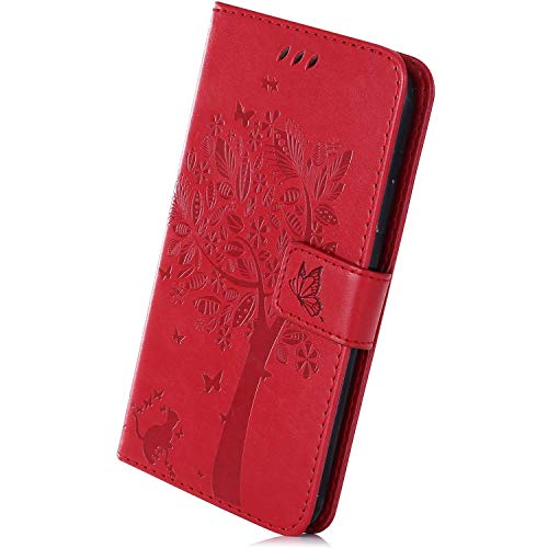 Best Deals! Herbests Compatible with Samsung Galaxy A40 Wallet Case Embossed Tree Butterfly Cat Patt...