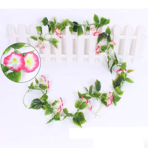 ZHENAO Artificial Flower Garlands Fake Silk Morning Glory Hanging Garland Simulation Climbing Plants Vine Rattan for Garden Home Party Wedding Decor Wall Stair Balcony Patio Fences