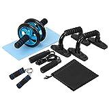 TOMSHOO Rueda Abdominales Fitness Kit 5 en 1 con Push Up Bars de Empuje Cuerda de Saltar Pinza de Mano Núcleo Abdominal Entrenamiento Físico