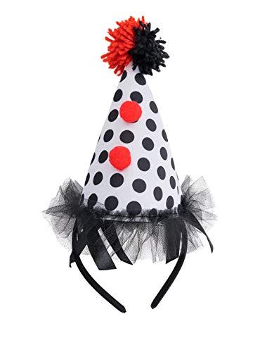 Deiters Haarreif Mini Hut Clown schwarz/weiß/rot