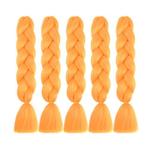 MSBELLE 5Pcs 24 Inch Kanekalon Braiding Hair Extensions Synthetic Braiding Hair Ombre Jumbo Braids Hair for Gilrs 100g/Pcs(Orange)
