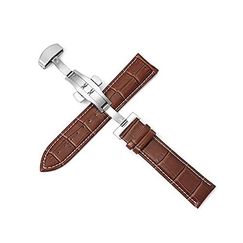 PZZZHF Cuerdas de Reloj de Cuero Genuino 12-24mm Reloj Universal Banda de Hebilla de Mariposa Strap de Hebilla de Acero 22mm Reloj Banda (Band Color : Silver-Brown-White, Band Width : 14mm)