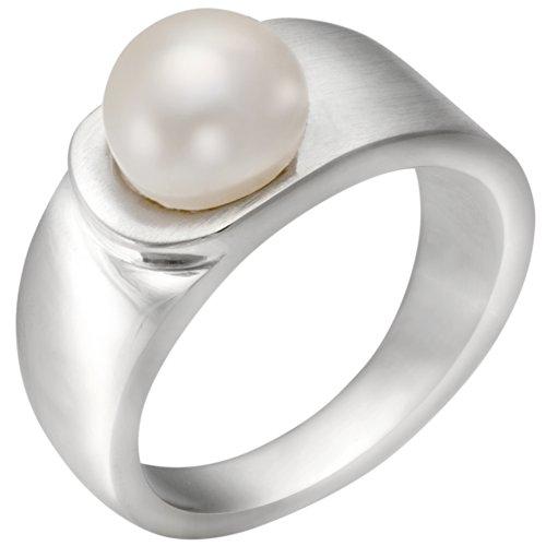Vinani Ring mattiert glänzend mit Süßwasserzuchtperle Sterling Silber 925 Größe 58 (18.5) REP58