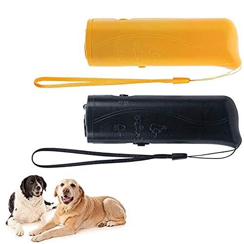 YHmall 3 in 1 Ultraschall Hunde Anti-barke Handheld-Hundetrainingsgerät Abschreckung Antibellen Hund Stopper Trainer GerätLED-Außenrinde-Controller Anti-Statik Handschlaufe (Black+Yellow)