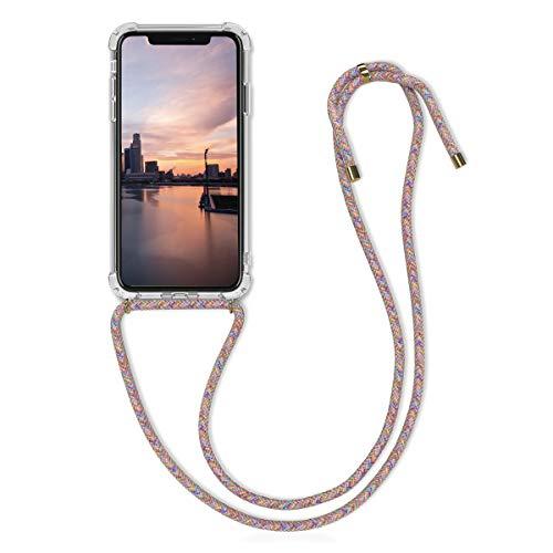 kwmobile Funda con Cuerda Compatible con Apple iPhone XR - Carcasa Transparente de TPU con Cuerda para Colgar en el Cuello