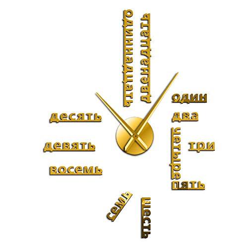 Wangzhongjie Ausländischen Sprache DIY Riesen Wanduhr Große Sowjet Russische Zahlen Große Uhr Baby Zimmer Vorschule Dekoration Russische Uhr-Gold_37_Inch