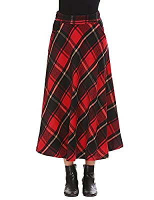 Shine Women's Wool Tartan Elastic High Waisted Plaid Maxi Skirts
