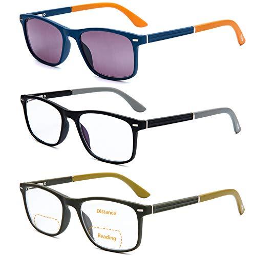 Bifocal Computer Reading Glasses with Spring Hinge BlueLight Blocking Women Men Lightweight Fashion Outdoor Reading Glasses with Lens UV400 Protection