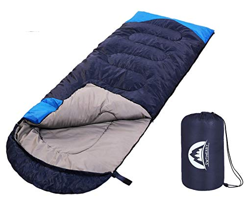 Sleeping Bag 3 Season Warm & Cool Weather – Summer, Spring, Fall, Lightweight,Waterproof Indoor & Outdoor Use for Kids, Teens & Adults for Hiking,Backpacking and Camping (Navy Blue, Single)