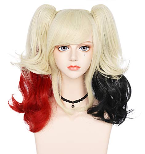 Anogol Free Hair Cap+Ombre Blonde Wig for Cosplay Wig Long Wavy Wig Red Ombre Black Wig With Ponytails for Halloween