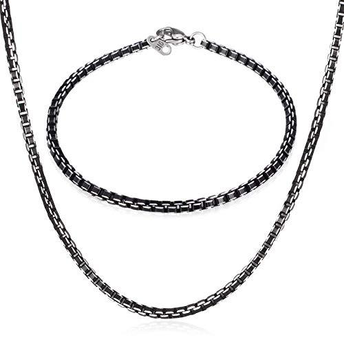 CLEARNICE Conjunto De Cadena De Caja Negra Pulsera Collar De Joyería para Hombre Aleación De Aluminio Moda Regalo Deportivo/Casual para Hombres Pequeños Conjunto De Joyería