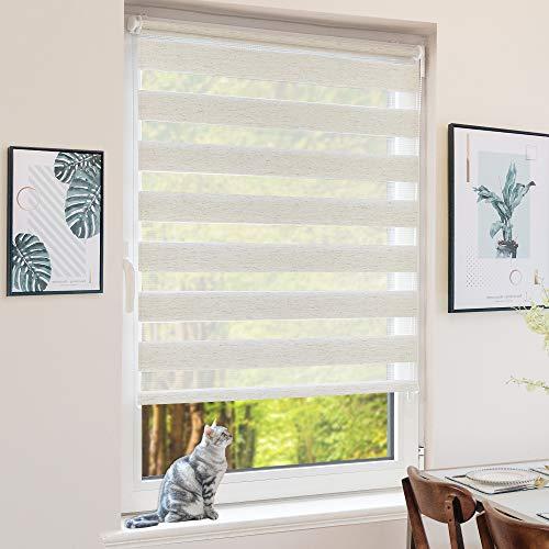 BondFree Doppelrollo Klemmfix ohne Bohren, Duo Rollos für Fenster und Tür, 70x200cm (Stoffbreite 66cm) Leinen, Fensterrollo Seitenzugrollo Sichtschutz & Sonnenschutz