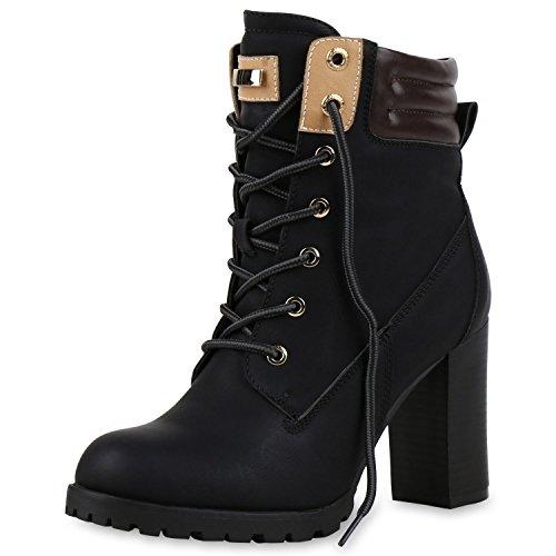 SCARPE VITA Gefütterte Damen Worker Boots Holzoptikabsatz Stiefeletten 160663 Schwarz Gefüttert 40