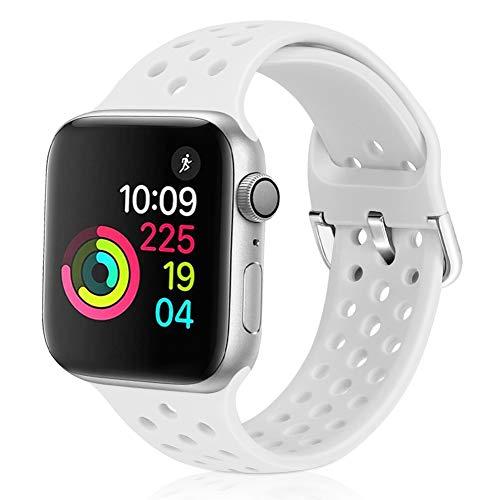 Vodtian Sportarmband kompatibel für Apple Watch, 38 mm, 40 mm, 42 mm, 44 mm, weiches atmungsaktives Silikon, Ersatz-Armband für iWatch Serie 5/4/3/2/1 für Damen und Herren, weiß, 42mm/44mm