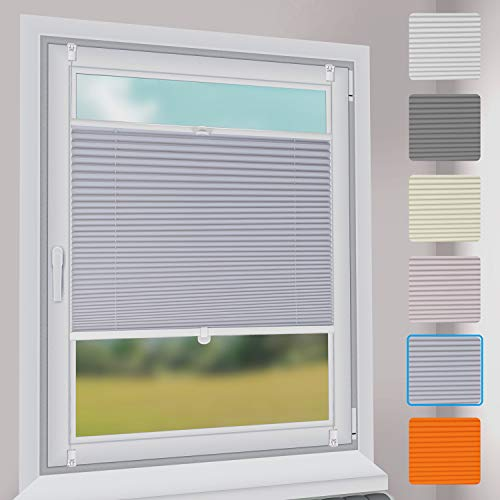 Sekey Premium Plissee - Hochwertiges Faltrollo ohne Bohren - 80 x 200cm - Jalousie für Fenster & Tür - Sonnenschutz - lichtundurchlässig - Hellgrau