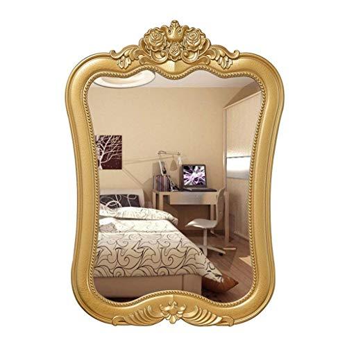 WXF Espejo De Pared para Chimenea, Espejo De Vanidad Decorativo con Marco De Oro Espejo Montado En La Pared Mesa De Baño Espejo para Colgar En La Pared (Color : Gold)