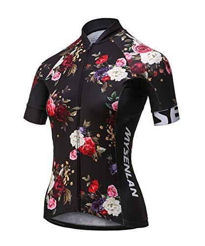 Mysenlan Abbigliamento Ciclismo Maglia da Donna Manica Corta per Bici Asciugatura Rapida Traspirante Cycling Jersey Estivo