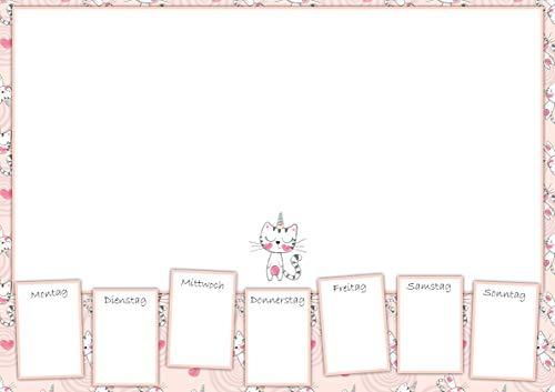 Schreibtischunterlage Papier A3 Block - Einhorn Katzenmotiv für Mädchen - Wochenplaner und Schreibunterlage - 25 Blatt - Bamboorilla