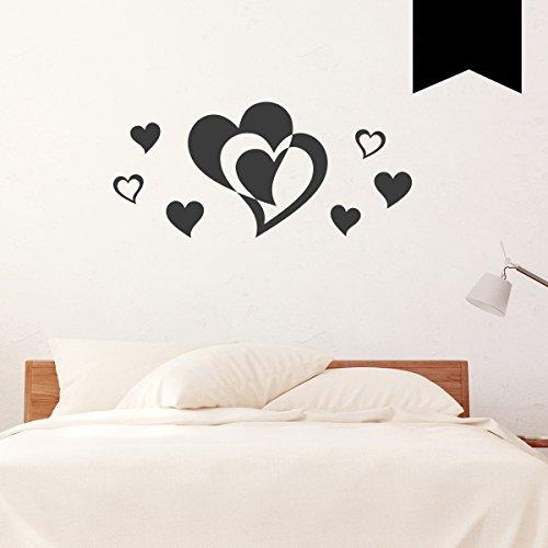 WANDKINGS Wandtattoo - Doppelherz mit 6 Herzen im Set - 40 x 18 cm - Schwarz - Wähle aus 5 Größen & 35 Farben