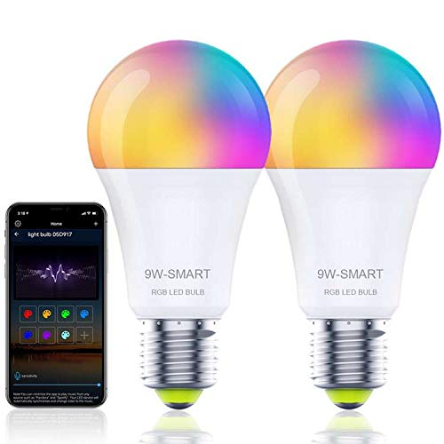 Smart WiFi LED Light Bulbs 2 Pack,Works With Alexa, Google Home,Multi-color Changing LED Bulb,9W=80W 800LM Dimmable With App,E26 RGB Mood Lighting For Bedroom,Party,No Hub Required(Support WiFi/Alexa)