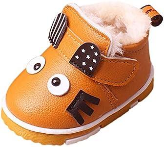 Botas Bebé Unisex de Nieve de Niñas Niños Más Terciopelo de PU de Gatito Dibujos Animados Lindo Zapatos de Bebé Botines Calentar Acogedor Botines Infantiles Primeros Pasos Zapatos (20, amrillo)