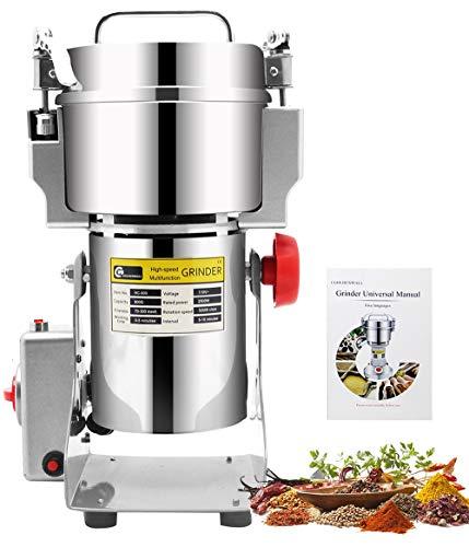 CGOLDENWALL 400g Mulino per Cereali Upgraded Open-Cover-Stop Unique Safety Design Grinder Elettrico per Materiale Secco Come Erbe/Cereali/Spezie 28000